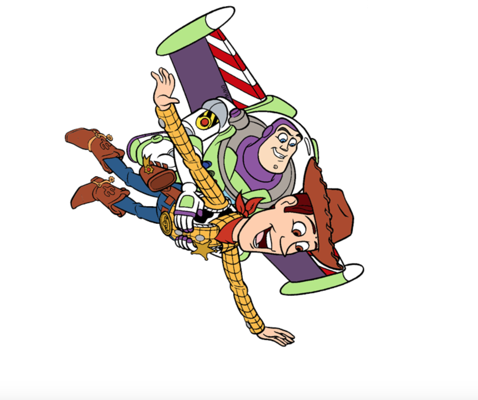 Woody And Buzz Lightyear Flying In The Air From Toy Story Toy Story Tattoo Woody Toy Story Toy Story Coloring Pages