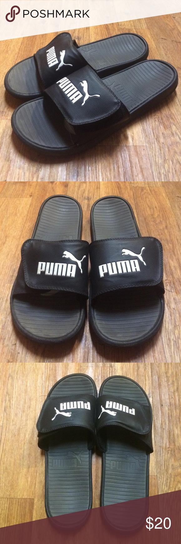 Men's Puma Slippers Men's Puma PopCat Sandals in black & white Puma Shoes