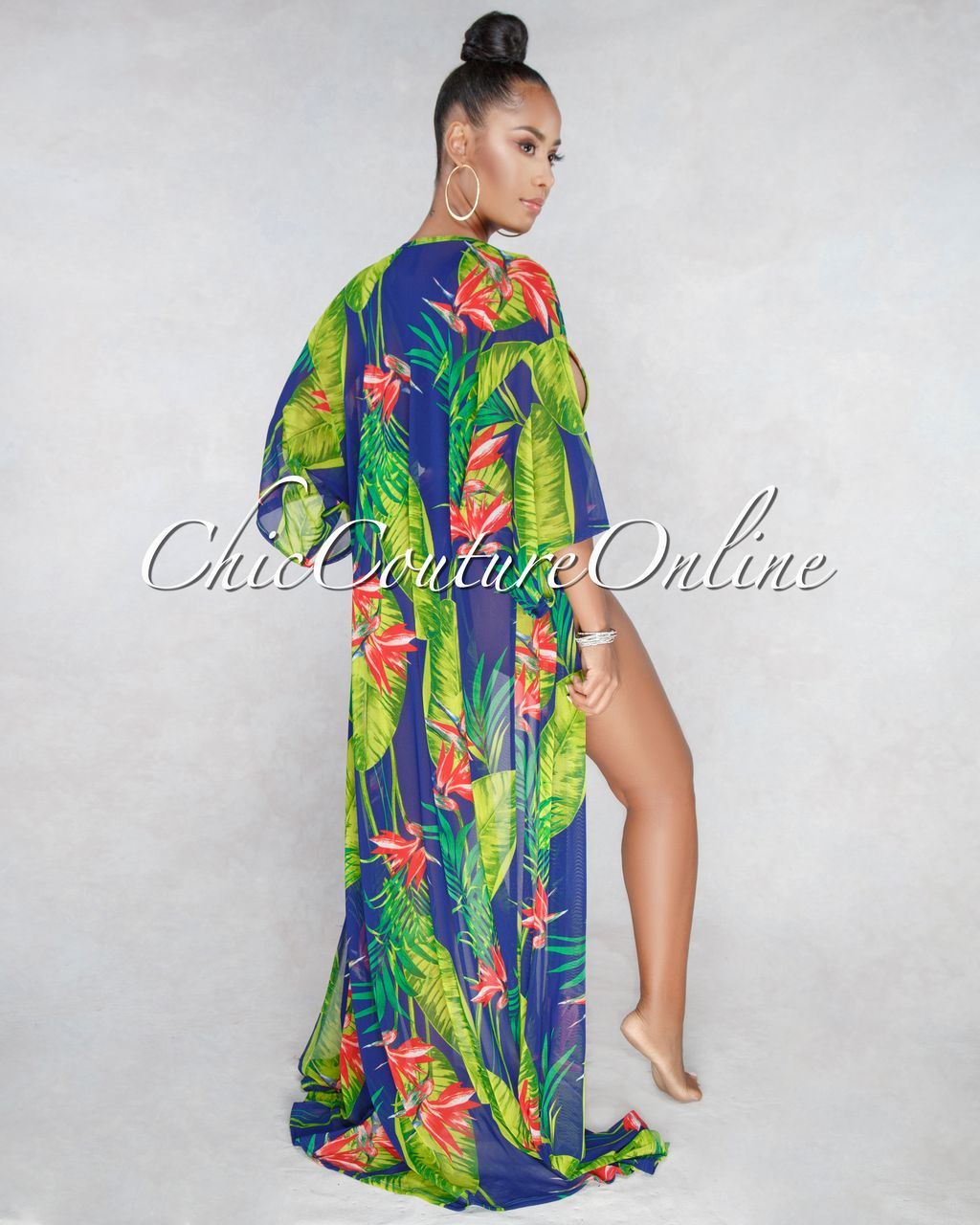 b1a091833f029 Chic Couture Online - Aruba Blue Leaf Red Floral Print Mesh Swimsuit Cover- up Set