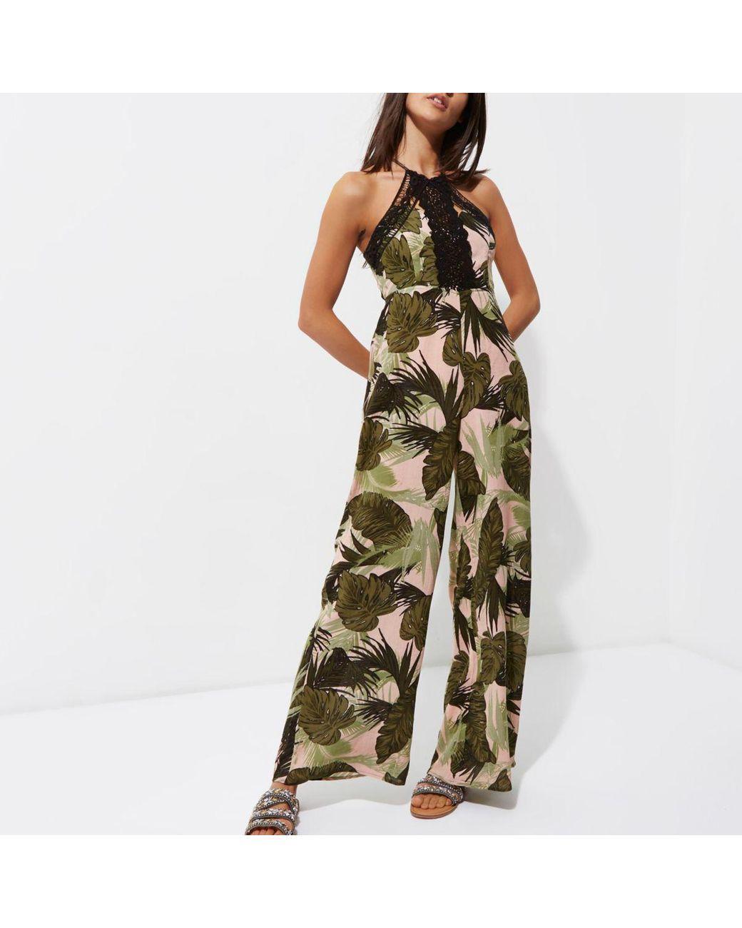 93b408c25a3 Women s Green Leaf Print Crochet Beach Jumpsuit