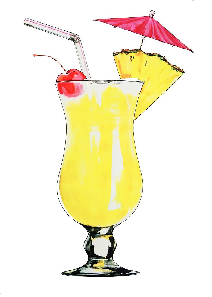 Pina colada large art illustrations cocktails drinks aquarelle dessin peinture - Dessin cocktail ...
