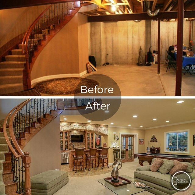 70 Home Basement Design Ideas For Men: Check Out This Before And After Picture Of A Basement We