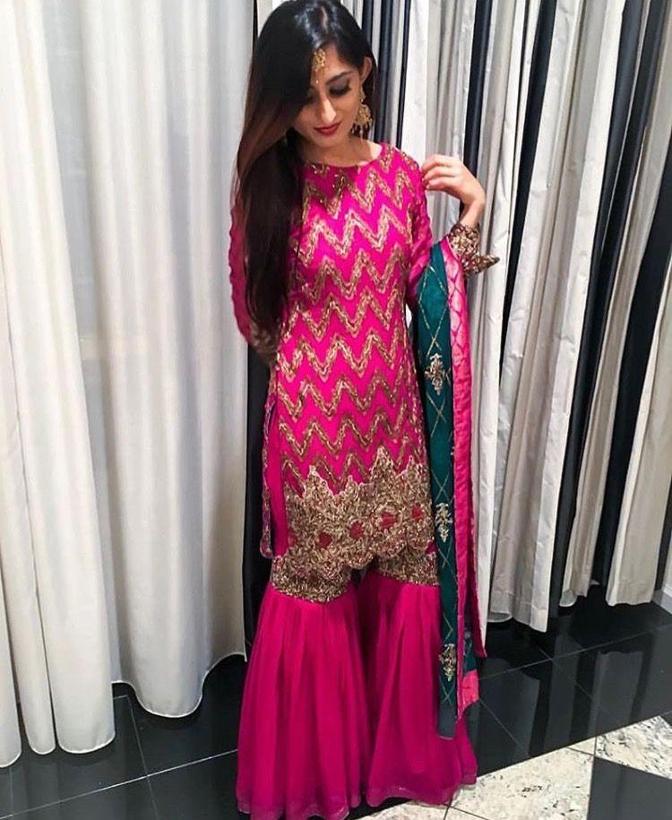 6e532980cc Pinterest: @pawank90 | Sharara and Palazzo in 2019 | Punjabi dress ...