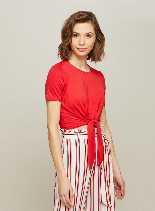 Womens Red Tie Front Crop Top in 2019  e3b0dec22