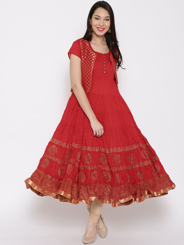 054c7f55b1ff Biba Red Cotton & Polyester Printed Anarkali Kurta with Jacket #Biba  #Anarkali #JacketStyle #Cotton #Red #Kurta #Kurtis #Casual #Festive #Printed