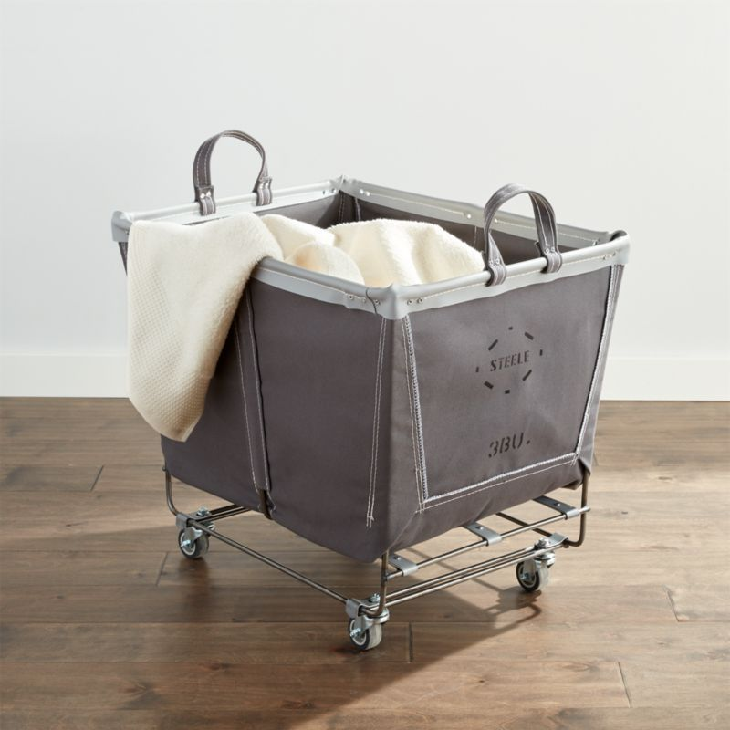 Steele Briquette Large Rolling Laundry Basket Crate And Barrel