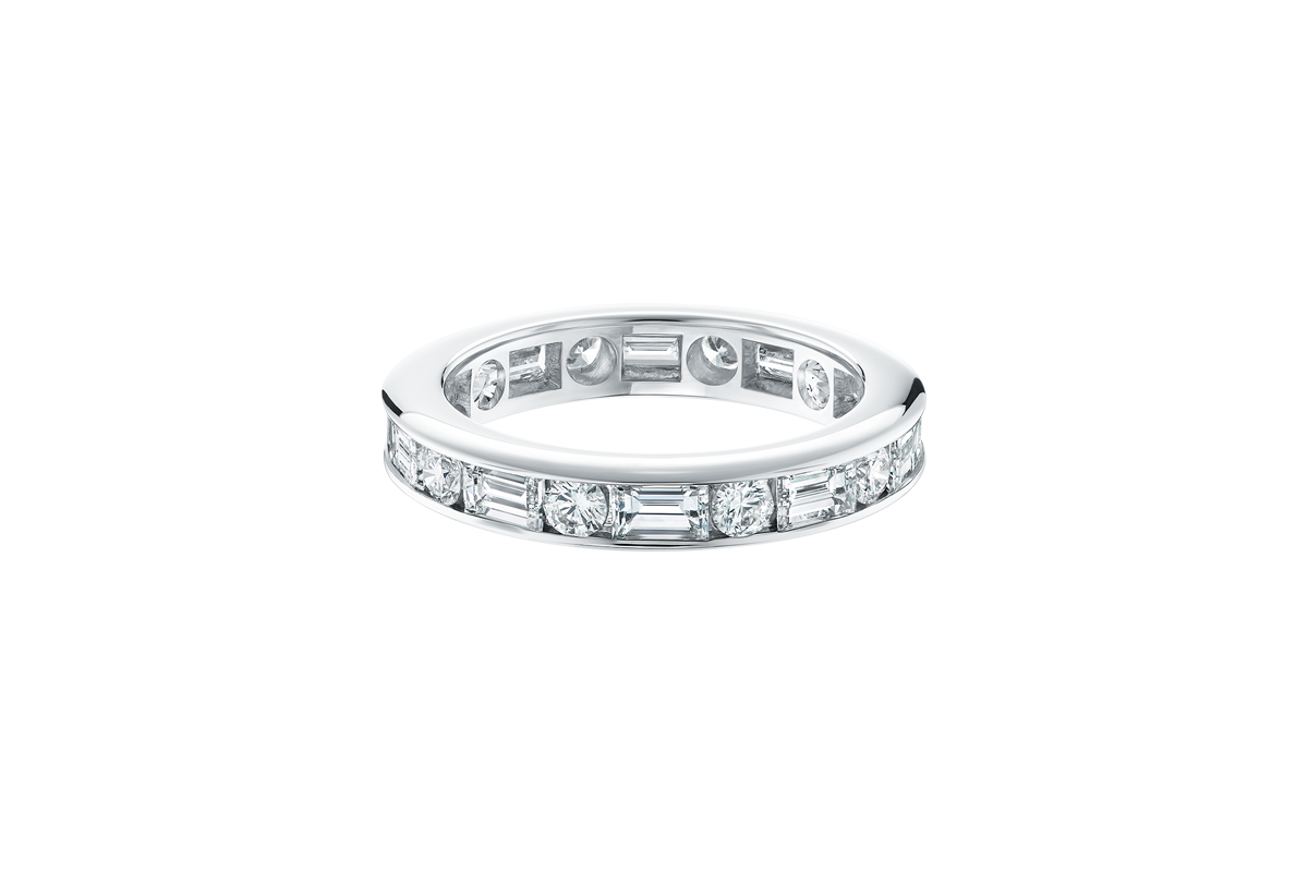 Channel-Set Round Brilliant and Baguette-Cut Diamond Wedding Band