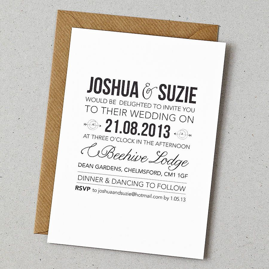Mesmerizing Contemporary Joshua and Suzie Wedding Invita