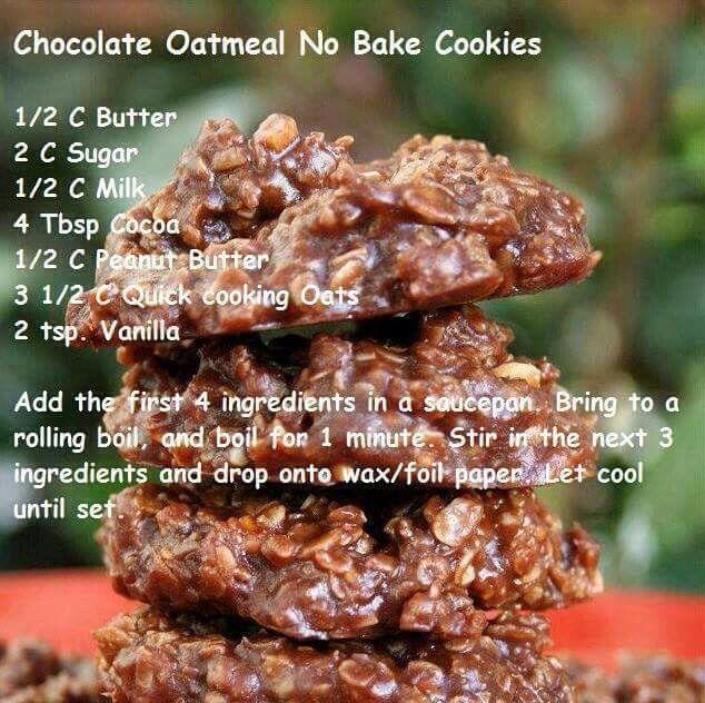 No bake Oatmeal chocolate cookies. Childhood memories!
