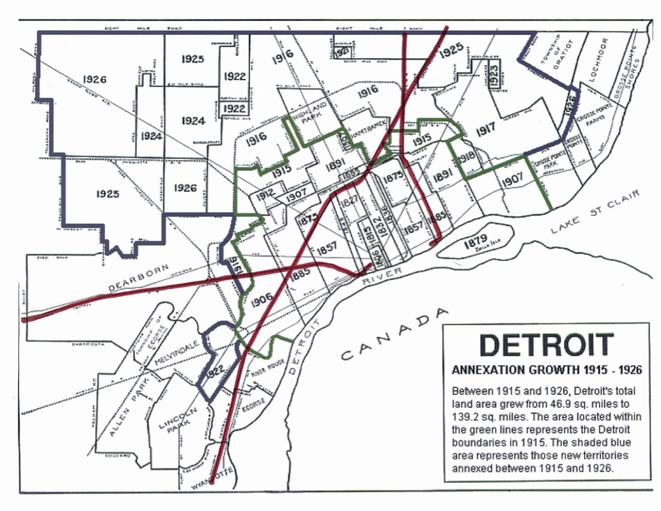 The Urbanophile Blog Archive The Reasons Behind Detroit S Decline By Pete Saunders Detroit Map Detroit Michigan