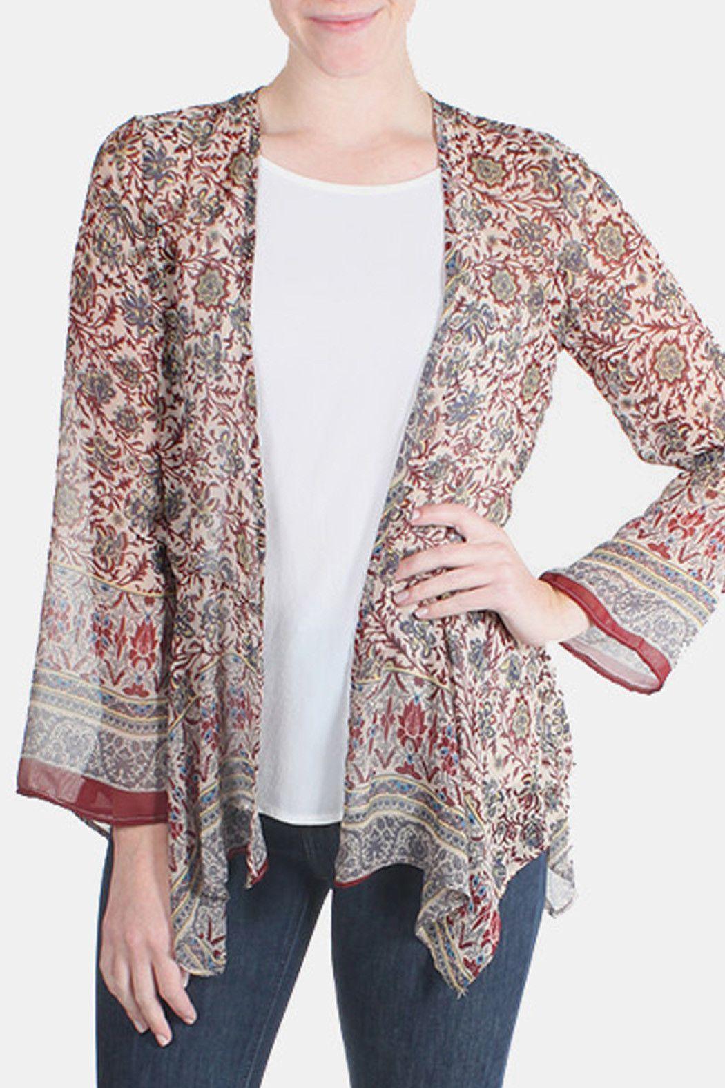 Bohemian Floral Kimono Cardigan in Maroon | Products