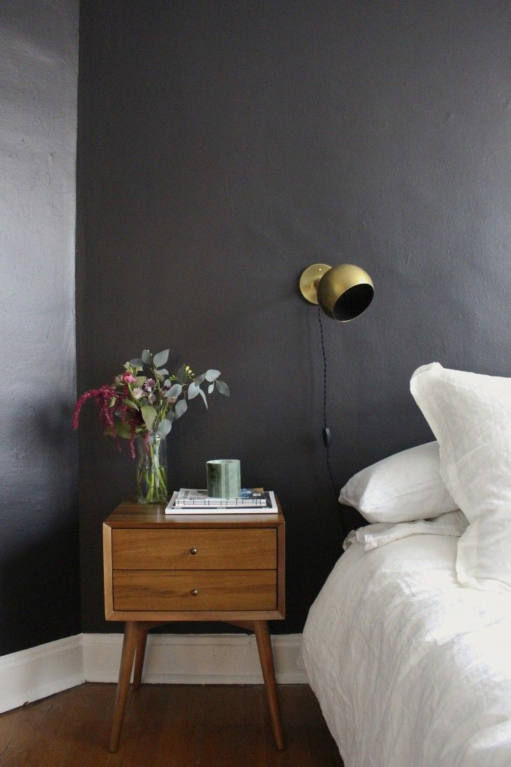 dark wall gold sconces bedroom ideas via