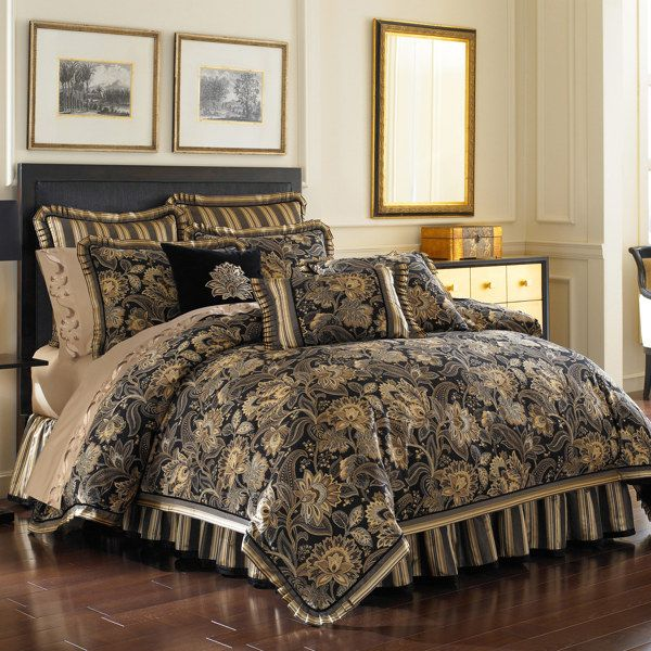 Bedroom Sets Bed Bath And Beyond bed, bath, & beyond -- j queen alicante comforter set in black