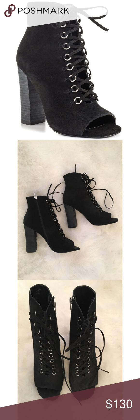 Steve Madden Freemee Lace Up Booties Never worn, completely new! Sold out online Steve Madden Shoes Ankle Boots & Booties