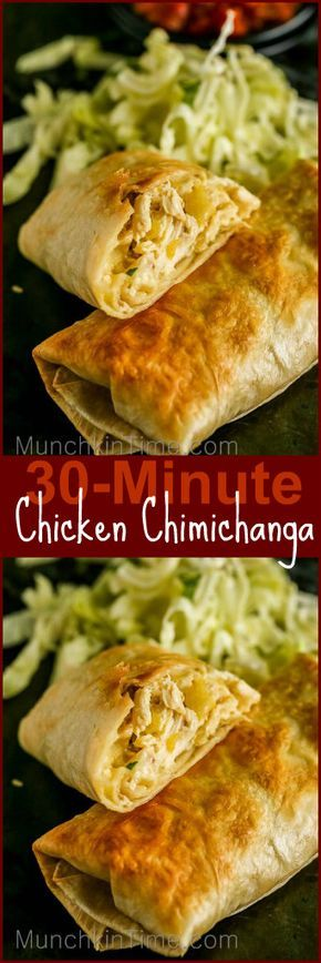 Easy 30-Minute Chicken Chimichanga Recipe – it is a baked burrito, stuffed with chicken, cheese and mild chilies. It is super good! #mexicanrecipeswithchicken
