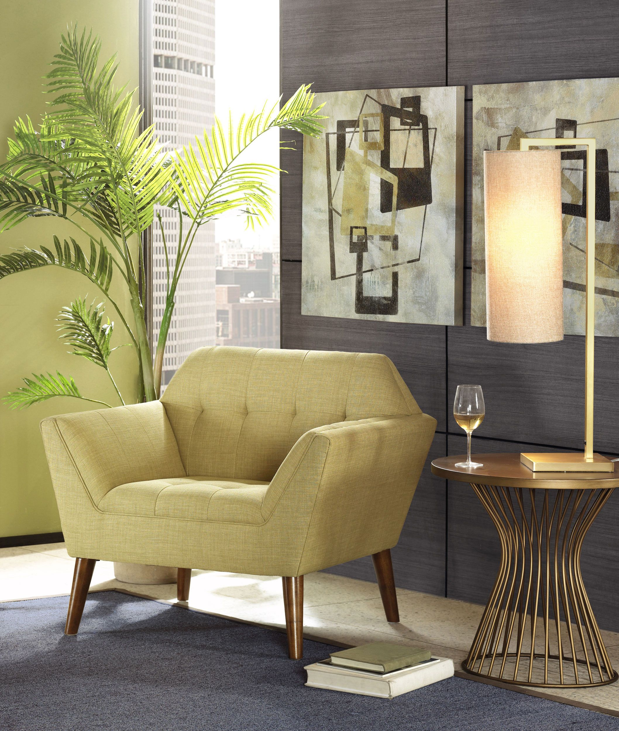 Wholesale Furniture Outlet Newport: Ink+Ivy Newport Lime Green Upholstered Mid Century Chair