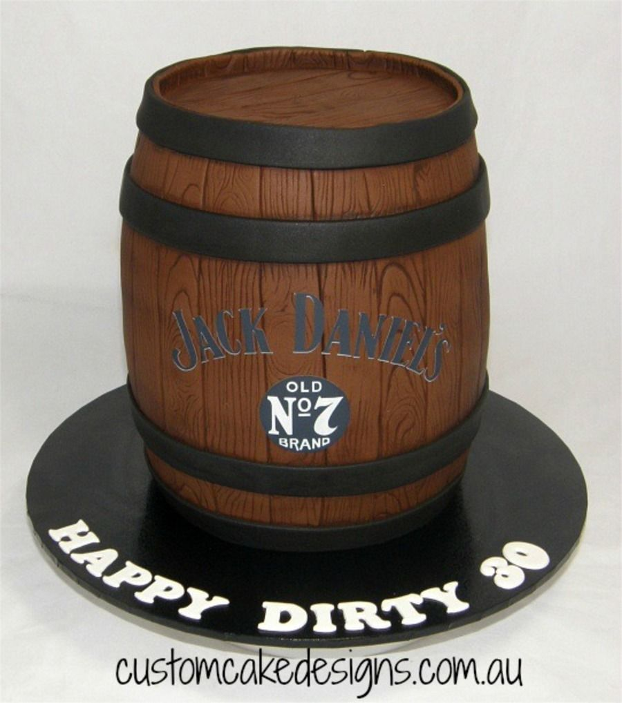 This 3D Jack Daniels Whiskey barrel cake was made to latishas