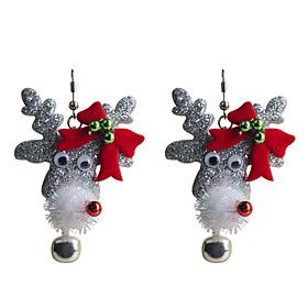 European Style Lovely  Bowknot  #Christmas Lane Head Alloy Earrings