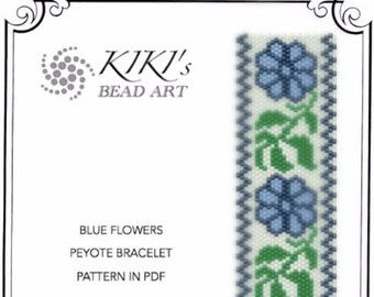 Rhythm of flowers peyote beaded bracelet with by KikisBeadArts