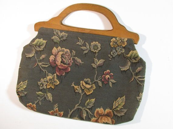 1930s 40s Tapestry Sewing Bag Antique Vintagehandbag With Wooden Handles Sewing Bag Knitted Bags Knitting Tote Bag