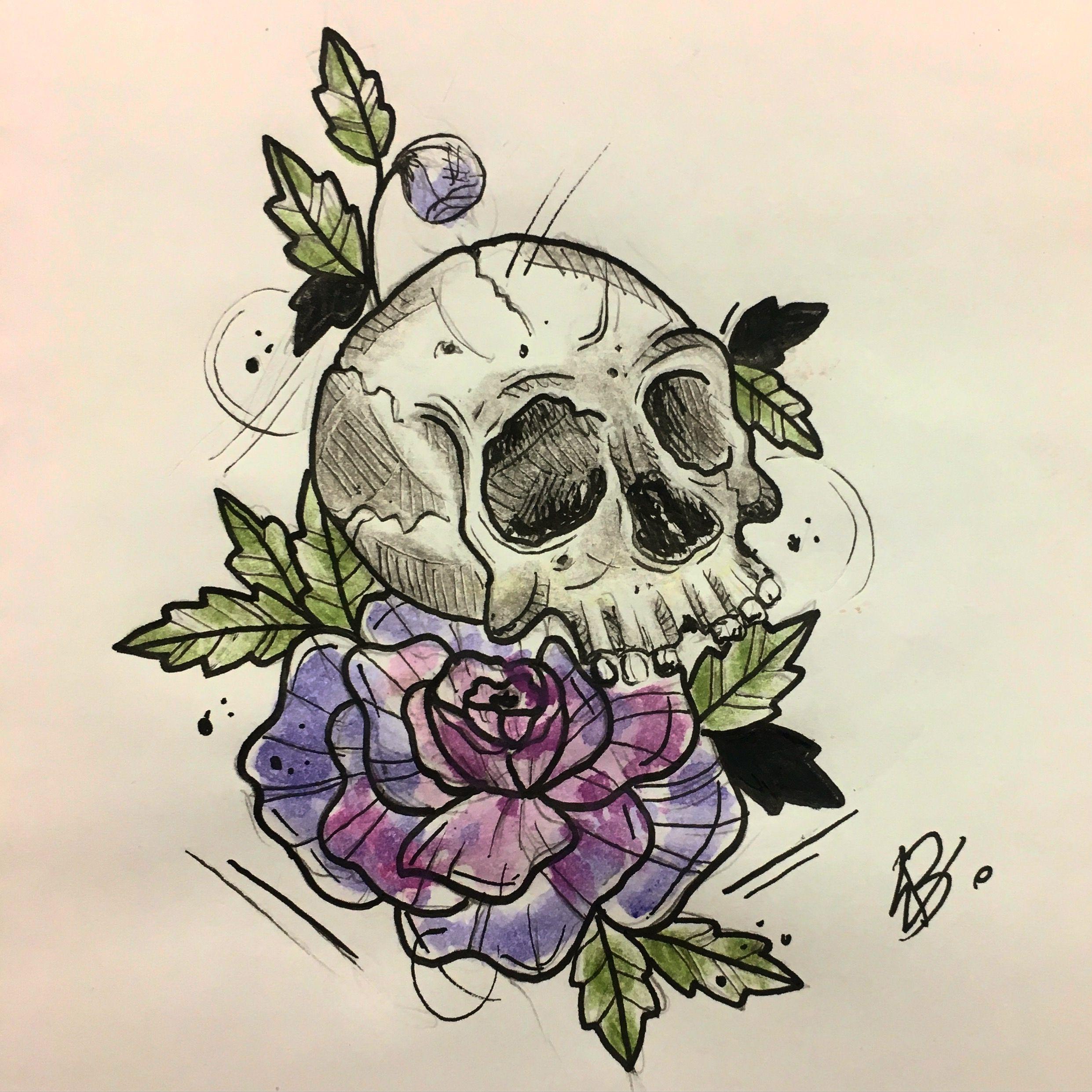 Desenho Trash Caveira Tattoo Desenho De Caveira Rosa E
