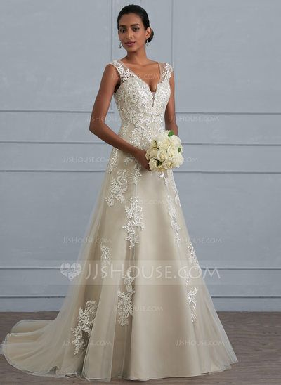 A-Line/Princess V-neck Court Train Tulle Lace Wedding Dress With ...