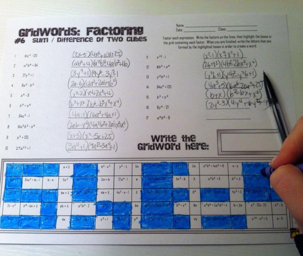 Factoring Polynomials Gridwords Full Set Math Education