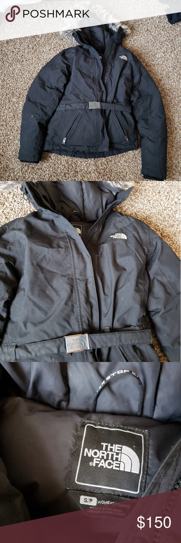 North Face Winter Coat Winter Coat With Faux Fur Hood And Belted Buckle Detail Super Warm The North Fa North Face Winter Coat Faux Fur Hood Clothes Design [ 1740 x 580 Pixel ]