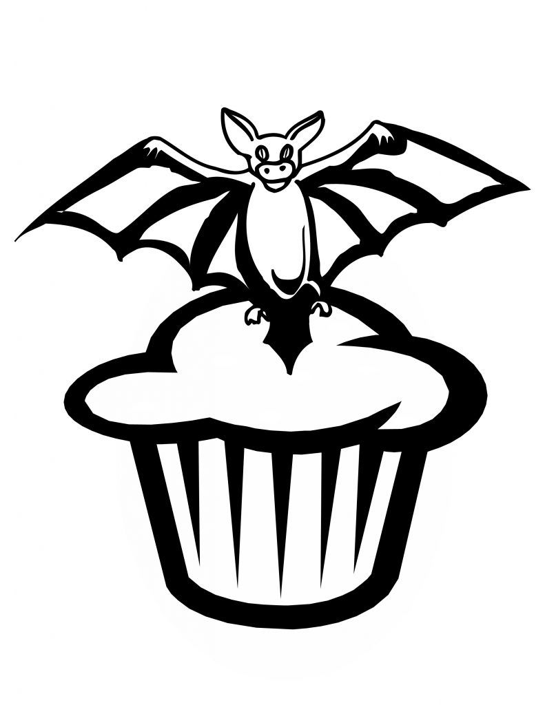 Bat Cupcake Coloring Page Bat Coloring Pages Halloween Coloring