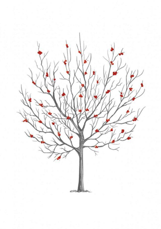 Fingerabdruck Baum Vorlage Beeren Rot Herbst Ausdrucken Kostenlos