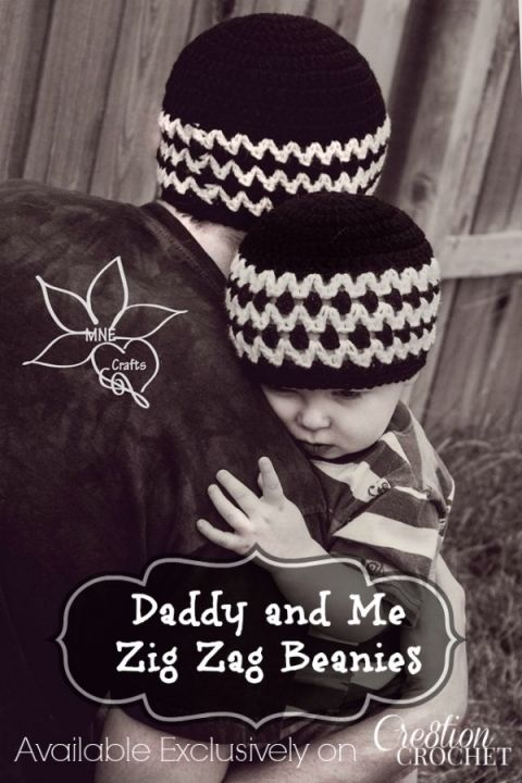 Daddy and Me Zig Zag Beanies | Gorros, Gaby y Ganchillo
