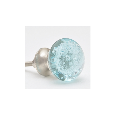 Bubble Glass Kitchen Cabinet Doors: Aqua Light Sea Blue, Glass Cabinet Knob With