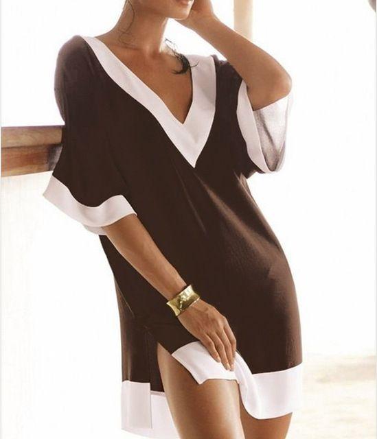 Vestido recto vestido de gasa con cuello en v de la playa del verano, estilo vestidos Patchwork mujeres desigual túnica de una pieza Cover Up vestidos