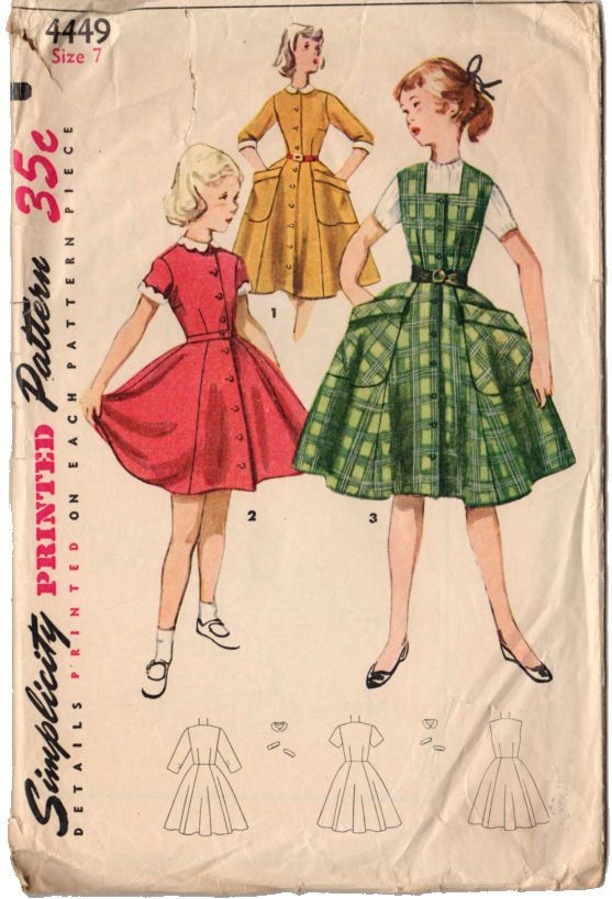 Vintage 1950\'s Girls Button Front Dress Simplicity Sewing Pattern ...