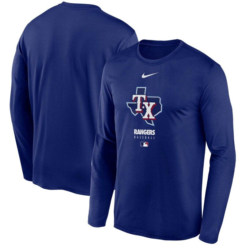 Texas Rangers Nike Authentic Collection Legend Performance Long Sleeve T Shirt Royal Long Sleeve Tshirt Men T Shirt Texas Rangers