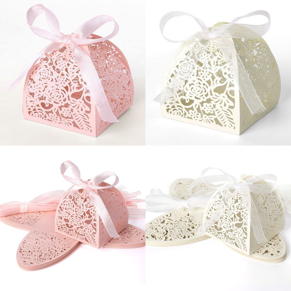 Wedding Sweets Lace Laser Rose Cut Wedding Favor Candy Gifts Boxes ...