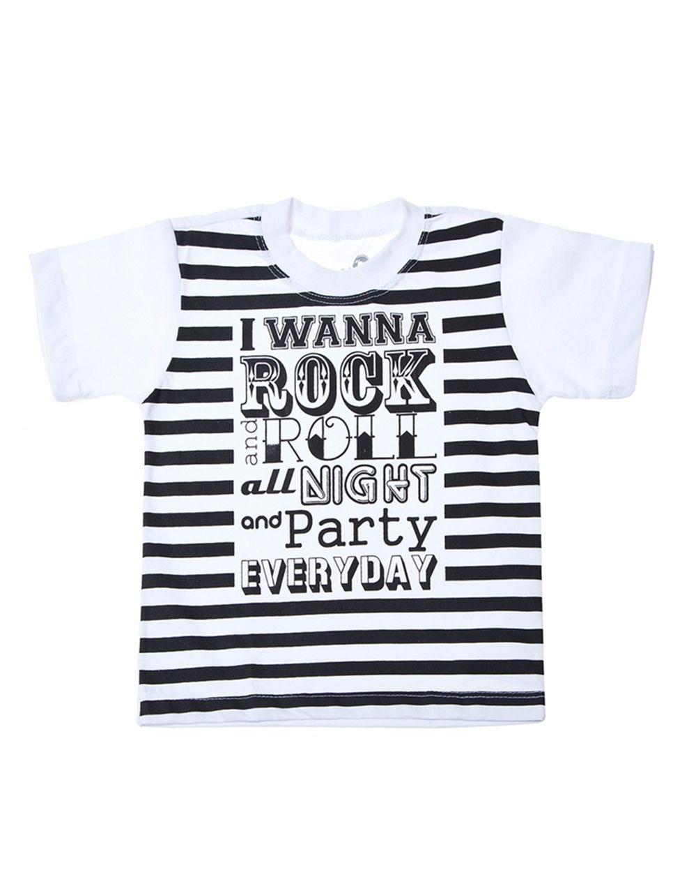 Camiseta Malha Algodão I wanna rock n roll all night and party every day!  http://www.minime.com.br/camiseta-malha-algodao-i-wanna-rock-1218.aspx/p