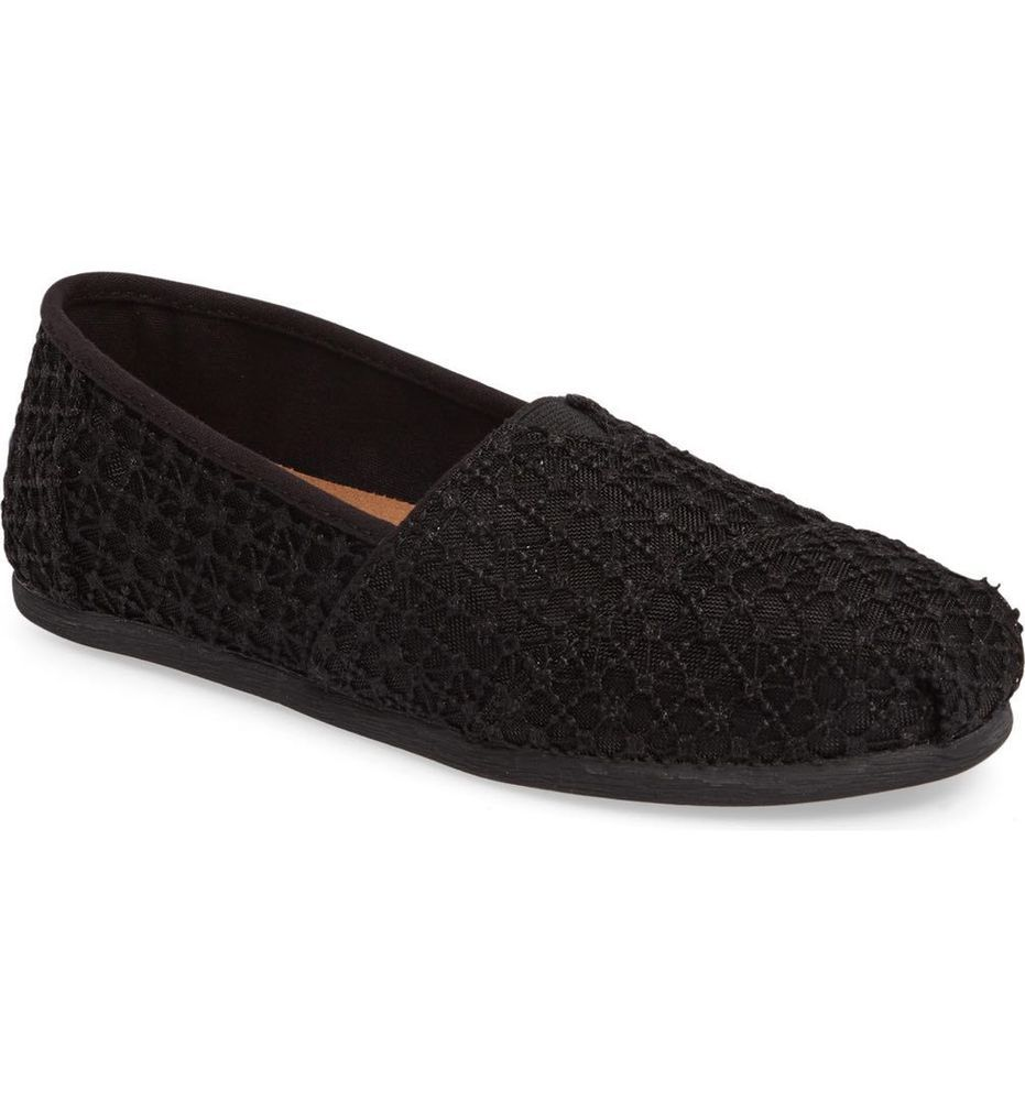 Toms Classic Black Marl Womens Espadrilles Shoes Slipons-4 oUuFNT