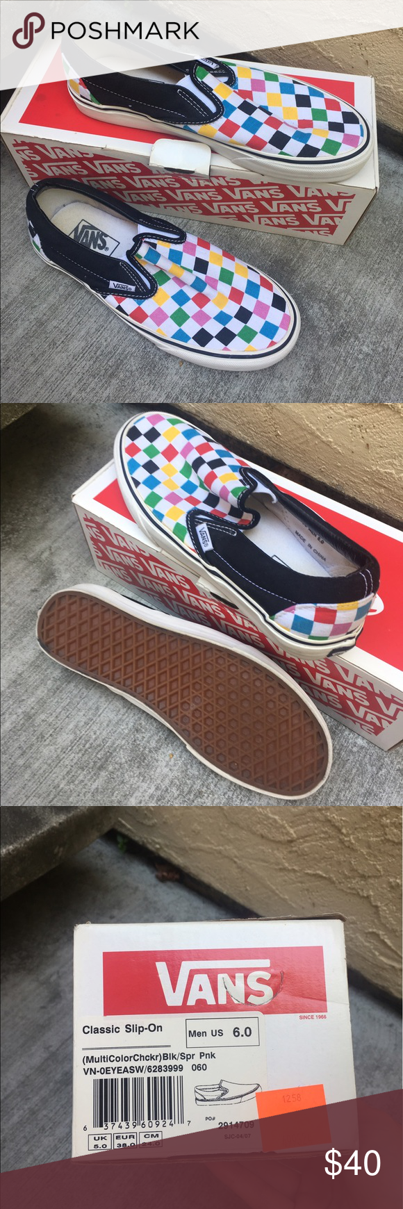 32b1286d02dc87 Vans multicolored checkered vans Probably only wore a handful of time were  actually way to big for me but still look pretty good.