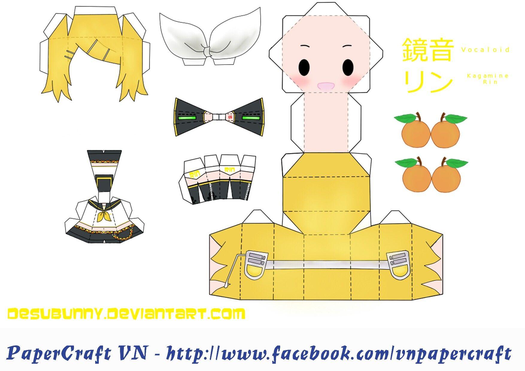 Cute Crafts Diy Printable Box Anime Chibi Vocaloid Papercraft Nerdy Birthday Ideas Homework