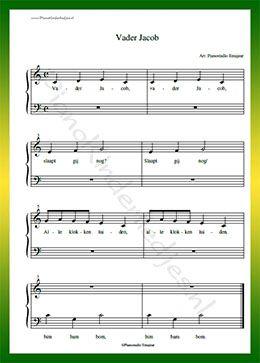 Onwijs Vader Jacob - Gratis bladmuziek van kinderliedjes in eenvoudige ZL-24