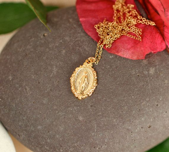 Virgin mary necklace religious necklace layering necklace a virgin mary necklace religious necklace layering necklace a gold vermeil virgin mary hanging from a gold vermeil chain aloadofball Choice Image