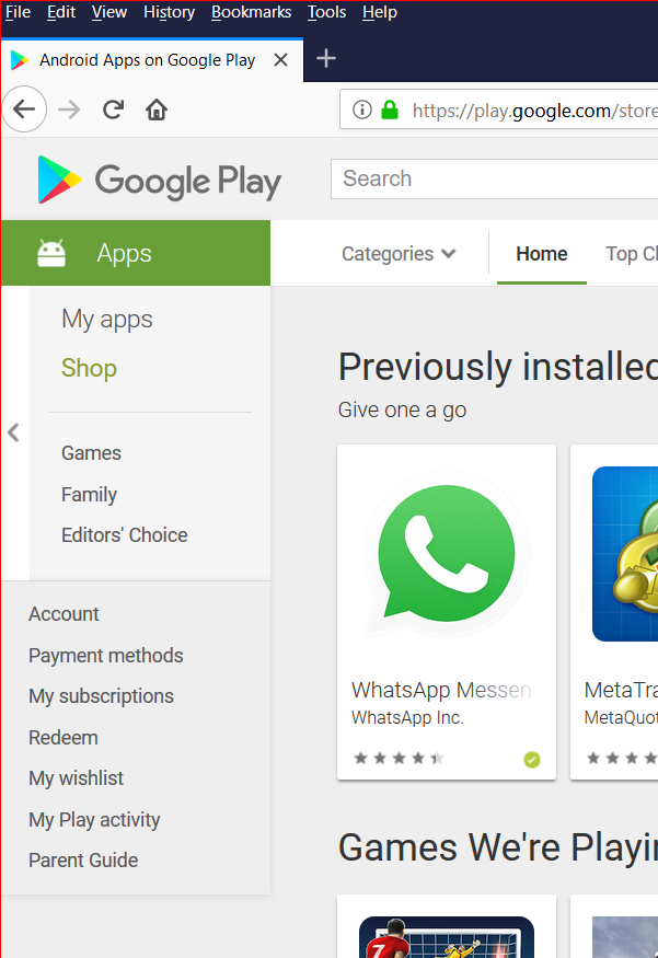 Google Play Store for Android apps Android apps, App