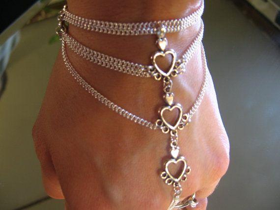 Silver Slave Bracelet Ring Bracelets Hand Chain Heart Charms Adjule Sized Body Jewelry On Etsy 31 00