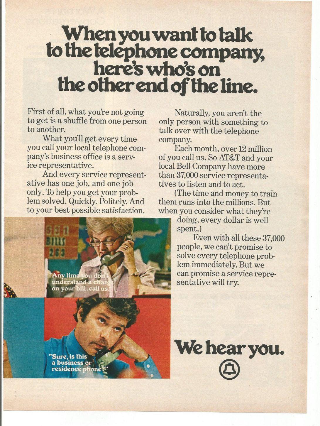 Customer Service vintage description. 1973 Advertisement