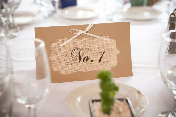 Burlap Wedding Table Numbers - Burlap Tent Cards - Wedding Table Number Cards