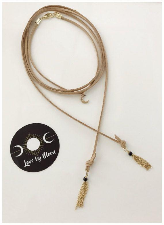 dc13c5f80e2ee Tan Suede Choker Gold Moon Necklace Tassel Suede by LoveByMoonCo ...