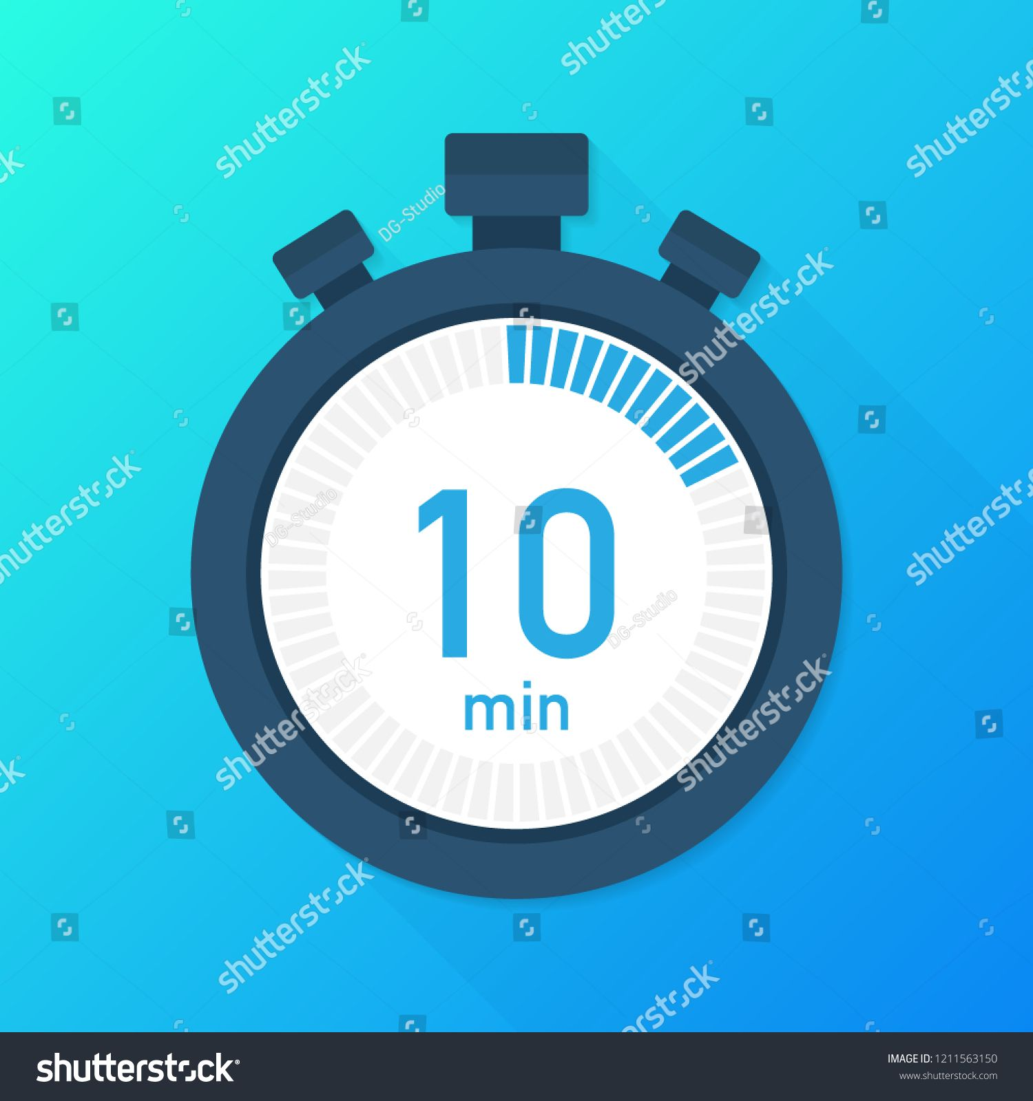 The 10 Minutes Stopwatch Vector Icon Stopwatch Icon In Flat Style Timer On On Color Graphic Design Photography Graphic Design Typography Stock Illustration