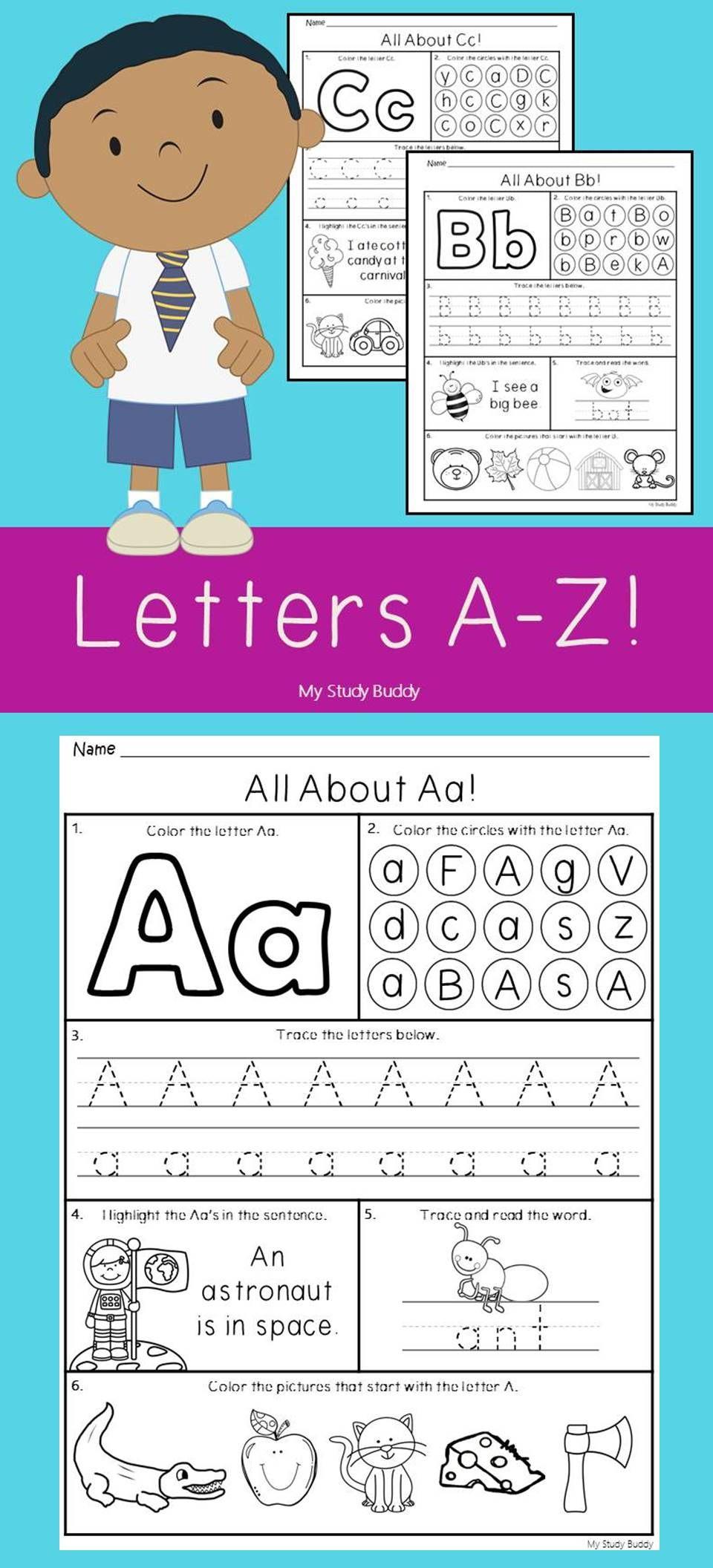 Alphabet Letters A-Z (Kindergarten Alphabet Worksheets, Back to ...