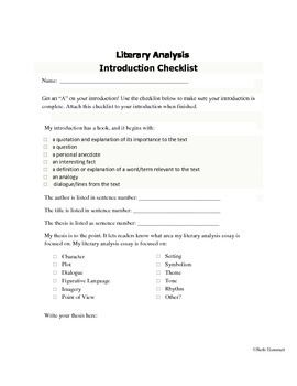 Introduction Checklist For Literary Analysis Essays Essay Tips